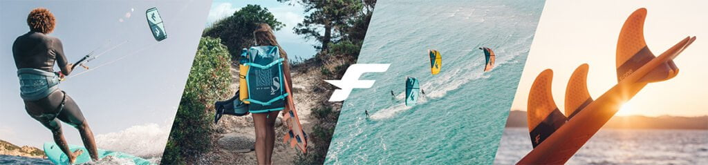 Banner page for f-one brand page. Kites, Bars, boards, foils